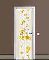 Декор двері Наклейка вінілова 3Д Кулі в узорах сфери ПВХ плівка з ламінуванням 65*200см Геометрія Жовтий