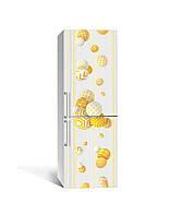 Наклейка на холодильник 3Д Кулі в узорах сфери (плівка ПВХ з ламінуванням) 65*200см Геометрія Жовтий