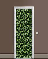 Декоративная наклейка на двери Ботаникум Густые листья ПВХ пленка с ламинацией 65*200см растения Зелёный