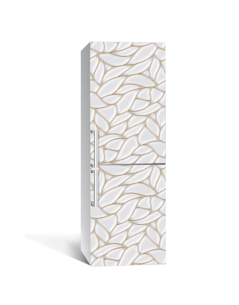 Вінілова 3Д наклейка на холодильник Мушлі Перламутр (плівка ПВХ фотодрук) 65*200см Текстура Сірий