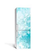 Наклейка на холодильник Бірюзова серпанок квіти (плівка ПВХ з ламінуванням) 65*200см Абстракція Блакитний