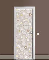 Вінілові наклейки на двері Сфери Кульбаби ПВХ плівка з ламінуванням 65*200см Геометрія Сірий