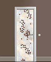 Виниловая наклейка на дверь Кофе на сером мраморе ПВХ пленка с ламинацией 65*200см Текстуры Бежевый