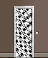 Декоративна наклейка на двері Обман зору Хвилі ПВХ плівка з ламінуванням 65*200см Геометрія Сірий