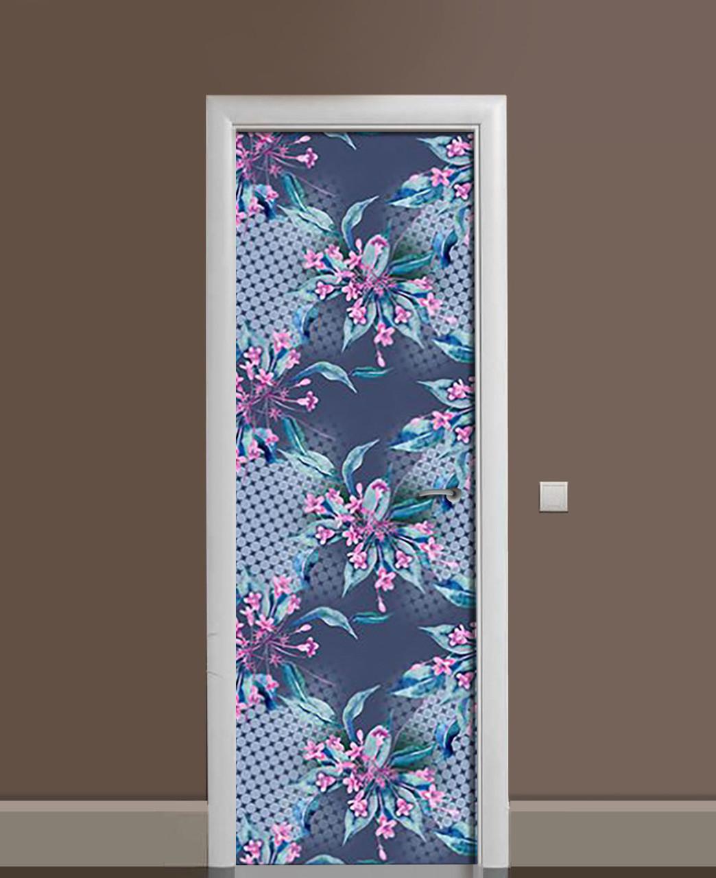Вінілові наклейки на двері Вельветова поляна ПВХ плівка з ламінуванням 65*200см Абстракція Синій