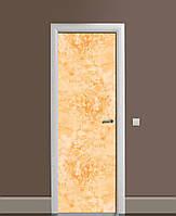 Виниловая наклейка на дверь Медовый мрамор Камень ПВХ пленка с ламинацией 65*200см Текстуры Оранжевый