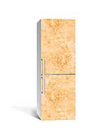 Виниловая наклейка на холодильник 3Д Медовый мрамор Камень (пленка ПВХ фотопечать) 65*200см Текстуры Оранжевый