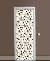 Декоративна наклейка на двері Незвичайні сфери Очі ПВХ плівка з ламінуванням 65*200см Абстракція Бежевий