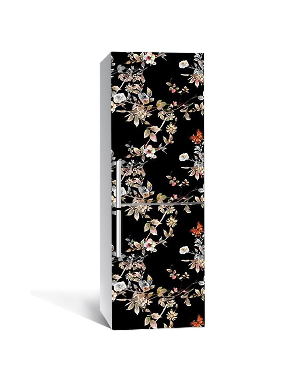 Наклейка на холодильник Дрібні квіти на темному тлі (плівка ПВХ з ламінуванням) 65*200см квіти Чорний