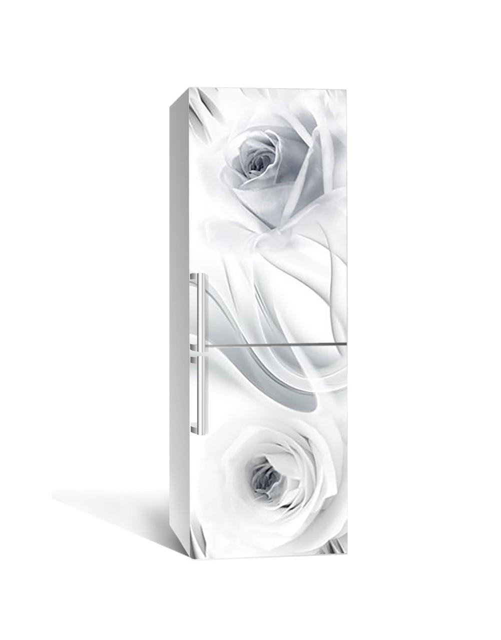 Вінілова наклейка на холодильник 3Д Невагомі Троянди (плівка ПВХ фотодрук) 65*200см Абстракція Сірий