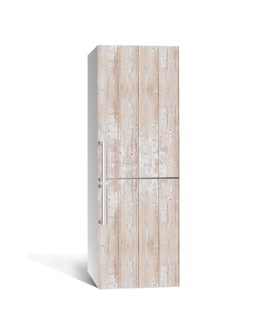 Декор 3Д наклейка на холодильник Кремове дерево Прованс (плівка ПВХ фотодрук) 65*200см Текстура Бежевий