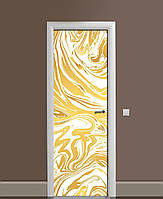 Декор двери Наклейка виниловая Золотой мрамор Камень ПВХ пленка с ламинацией 65*200см Текстуры Желтый