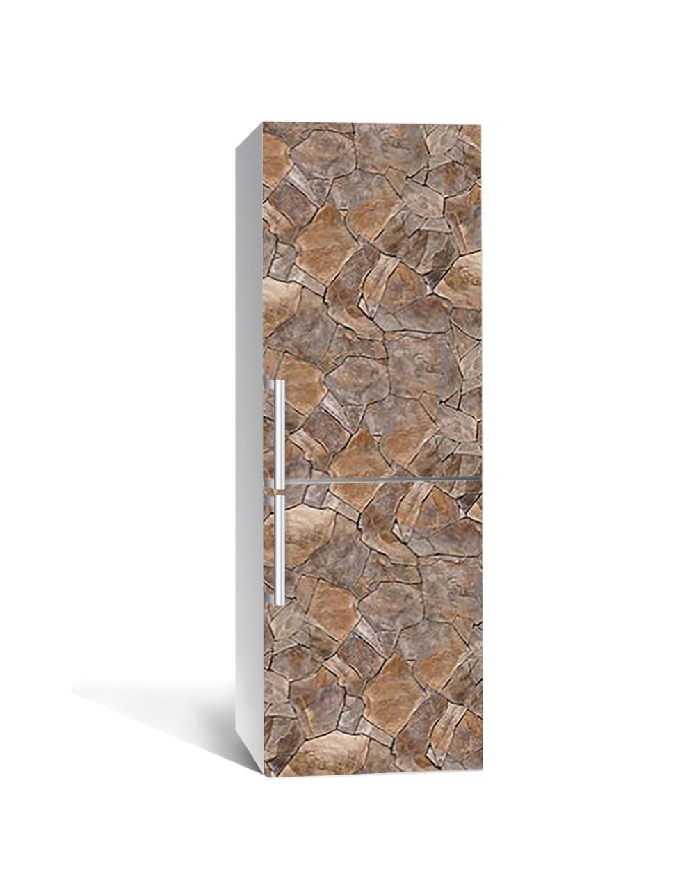 Вінілова наклейка на холодильник 3Д Дикий Камінь Мозаїка (плівка ПВХ фотодрук) 65*200см Текстура Коричневий