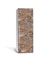 Виниловая наклейка на холодильник 3Д Дикий Камень Мозаика (пленка ПВХ фотопечать) 65*200см Текстуры Коричневый