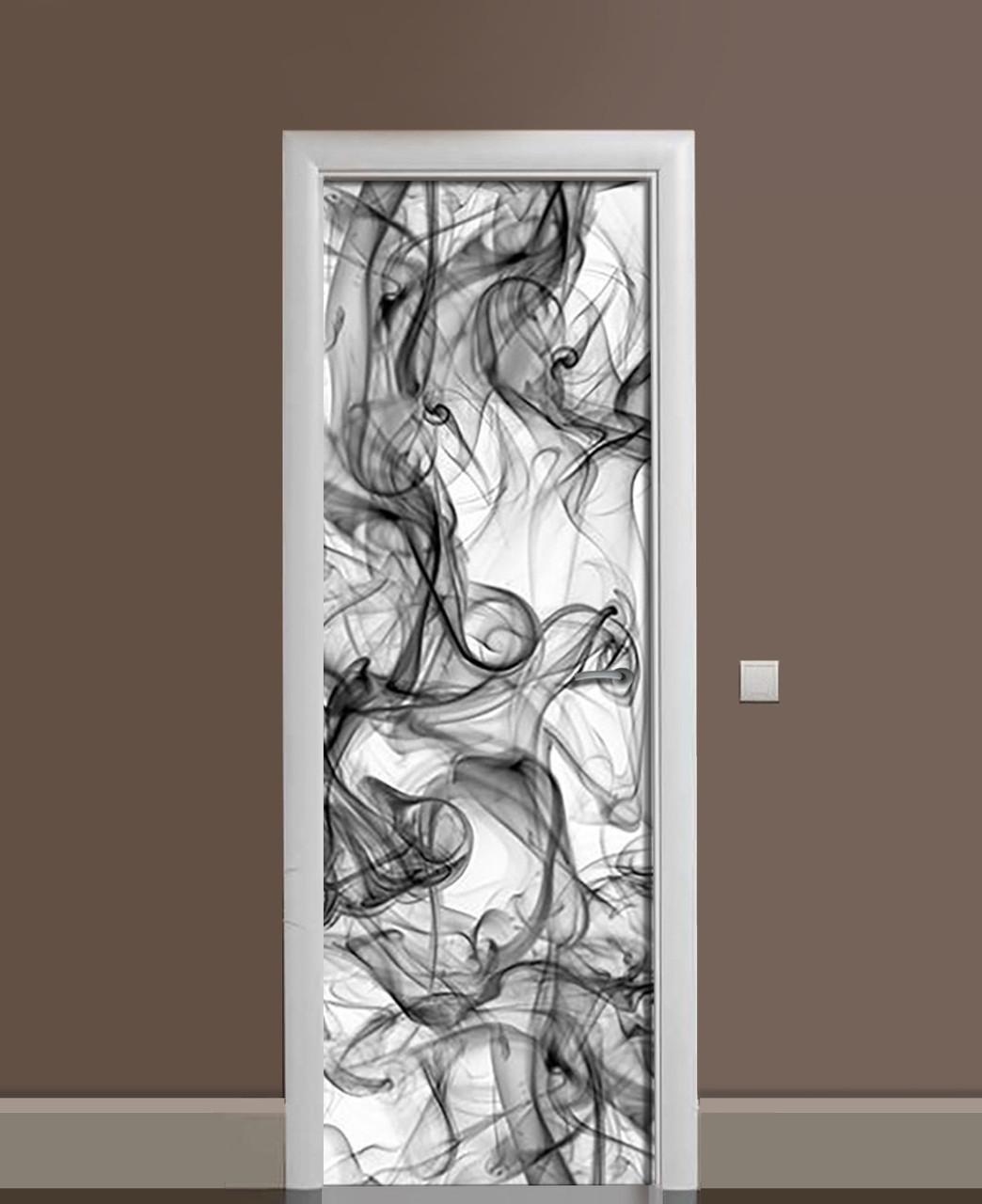 Декоративна наклейка на двері Клуби чорного диму ПВХ плівка з ламінуванням 65*200см Текстура Сірий
