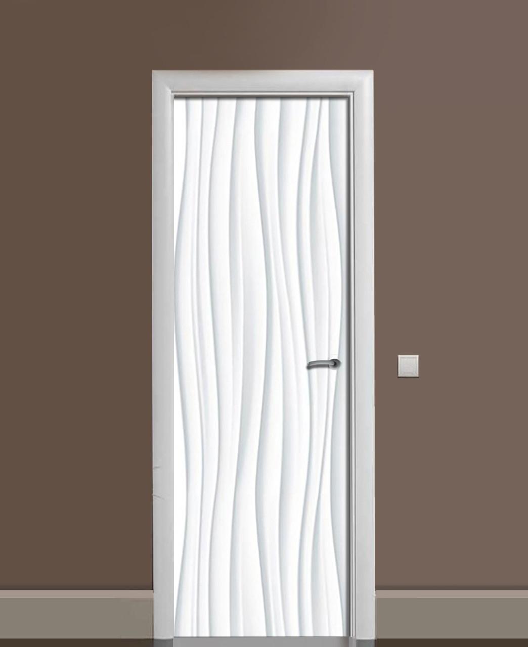 Декор двери Наклейка виниловая Волны Линии ПВХ пленка с ламинацией 65*200см Абстракция Серый