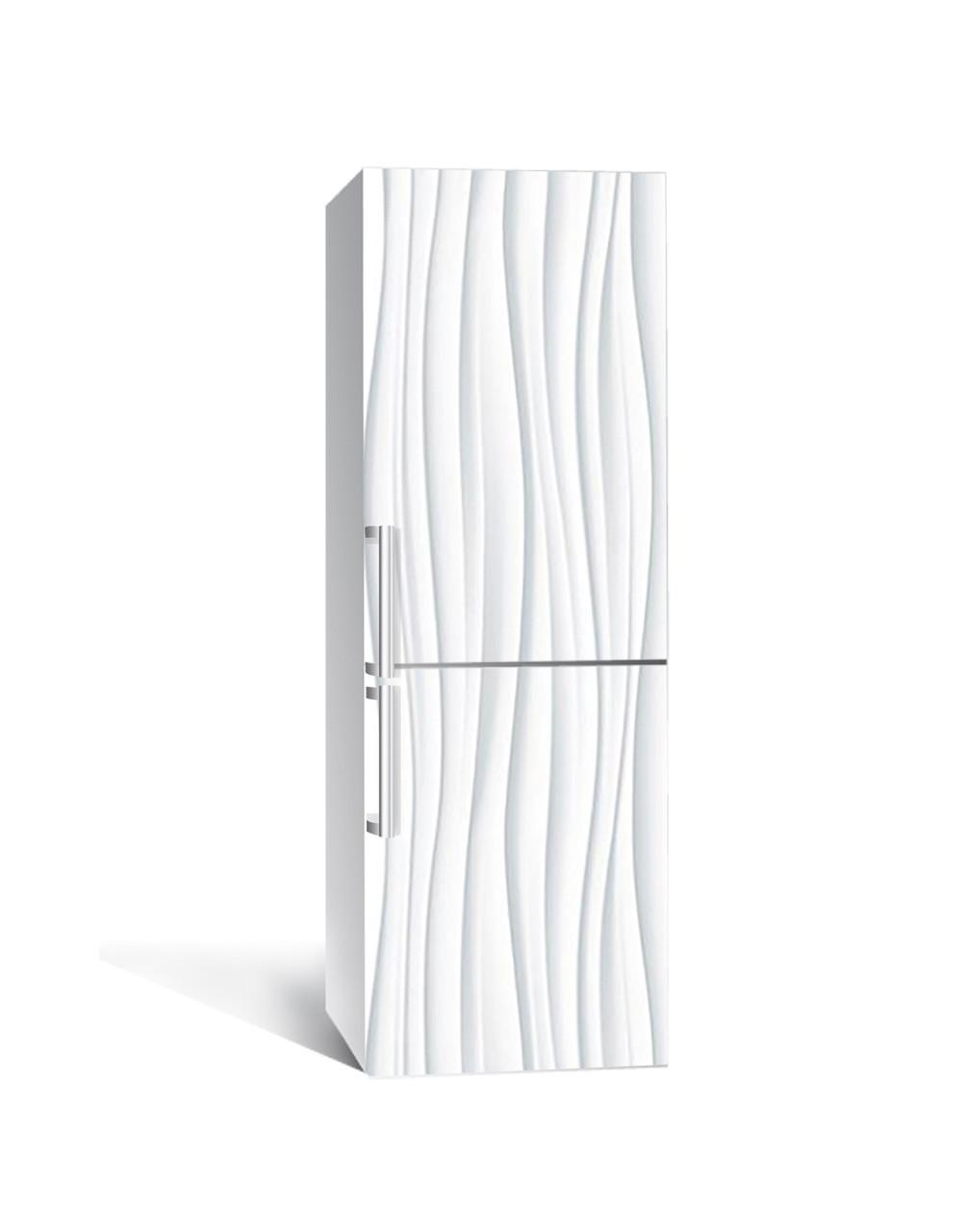 Наклейка на холодильник Волны Линии (пленка ПВХ с ламинацией) 65*200см Абстракция Серый