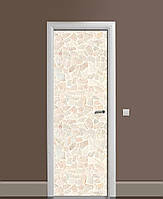 Виниловая наклейка на дверь Мозаика Песчаник Камень ПВХ пленка с ламинацией 65*200см Текстуры Бежевый