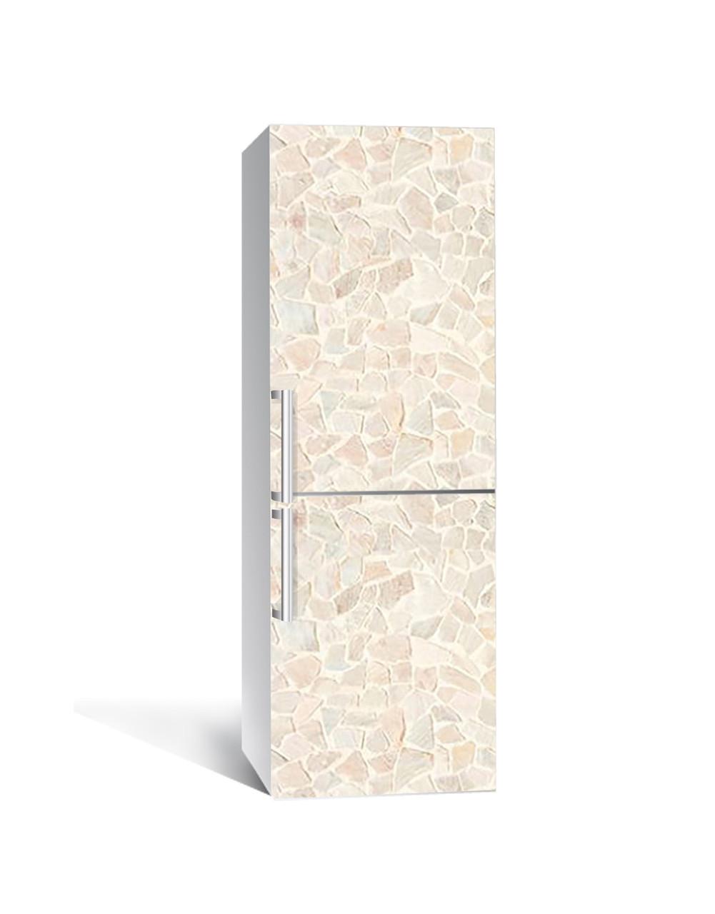 Вінілова наклейка на холодильник 3Д Мозаїка Пісковик Камінь (плівка ПВХ фотодрук) 65*200см Текстура Бежевий