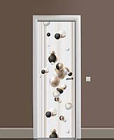 Декоративна наклейка на двері Золоті сфери Лінії ПВХ плівка з ламінуванням 65*200см Геометрія Бежевий