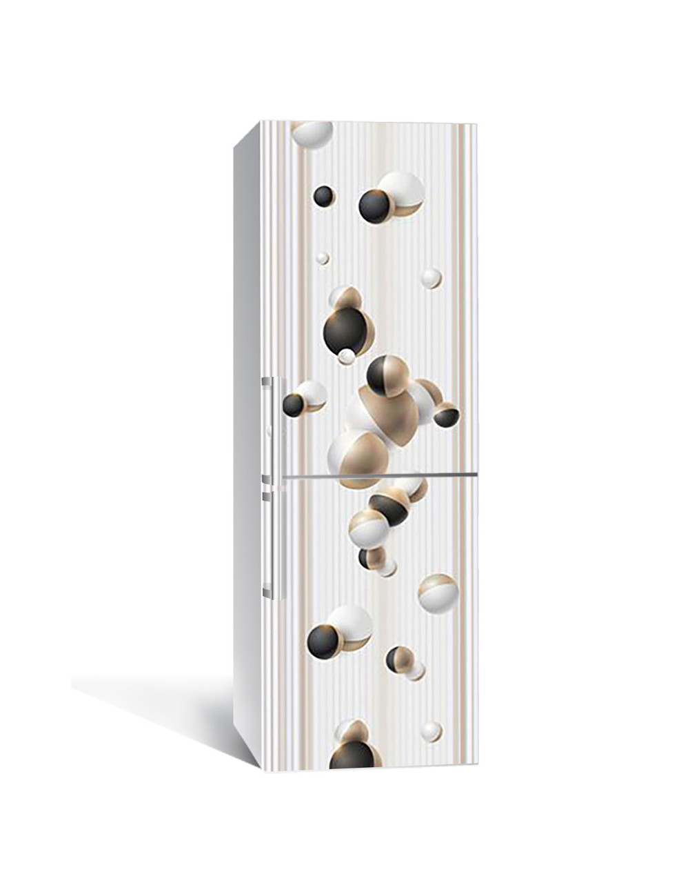 Декор 3Д наклейка на холодильник Золоті сфери Лінії (плівка ПВХ фотодрук) 65*200см Геометрія Бежевий