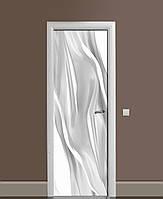 Вінілові наклейки на двері Сірий Шовк Тканина ПВХ плівка з ламінуванням 65*200см Абстракція Сірий