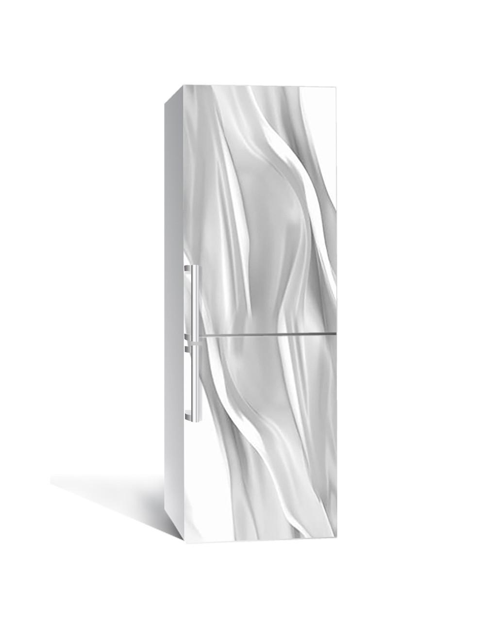 Виниловая 3Д наклейка на холодильник Серый Шелк Ткань (пленка ПВХ фотопечать) 65*200см Абстракция Серый