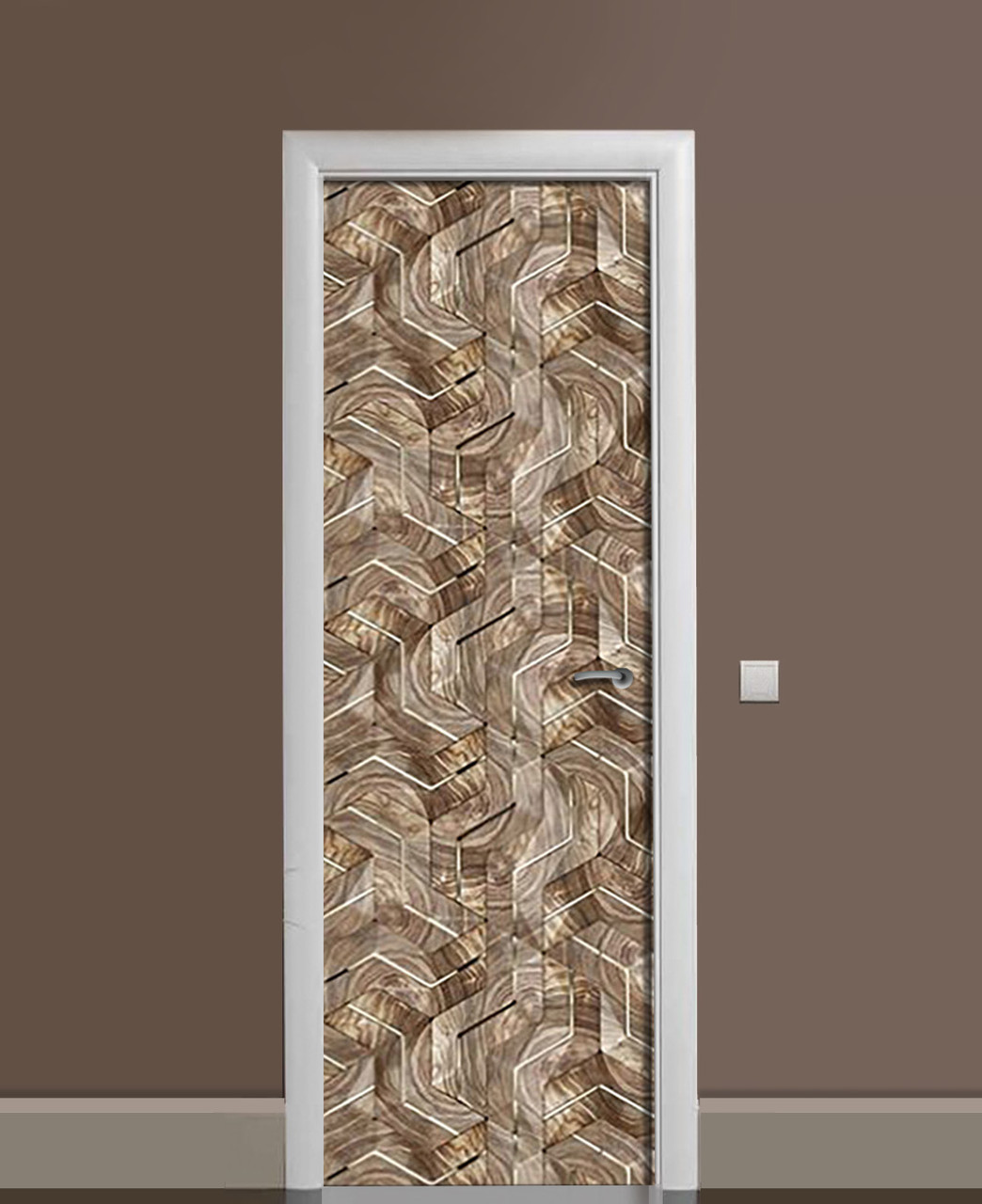 Декор двери Наклейка виниловая Бронзовая Мозаика ПВХ пленка с ламинацией 65*200см Абстракция Коричневый