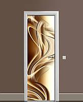 Декоративна наклейка на двері Кавове золото Лінії ПВХ плівка з ламінуванням 65*200см Абстракція Бежевий