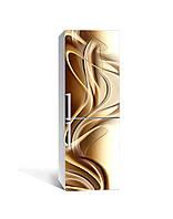 Декор 3Д наклейка на холодильник Кофейное золото Линии (пленка ПВХ фотопечать) 65*200см Абстракция Бежевый