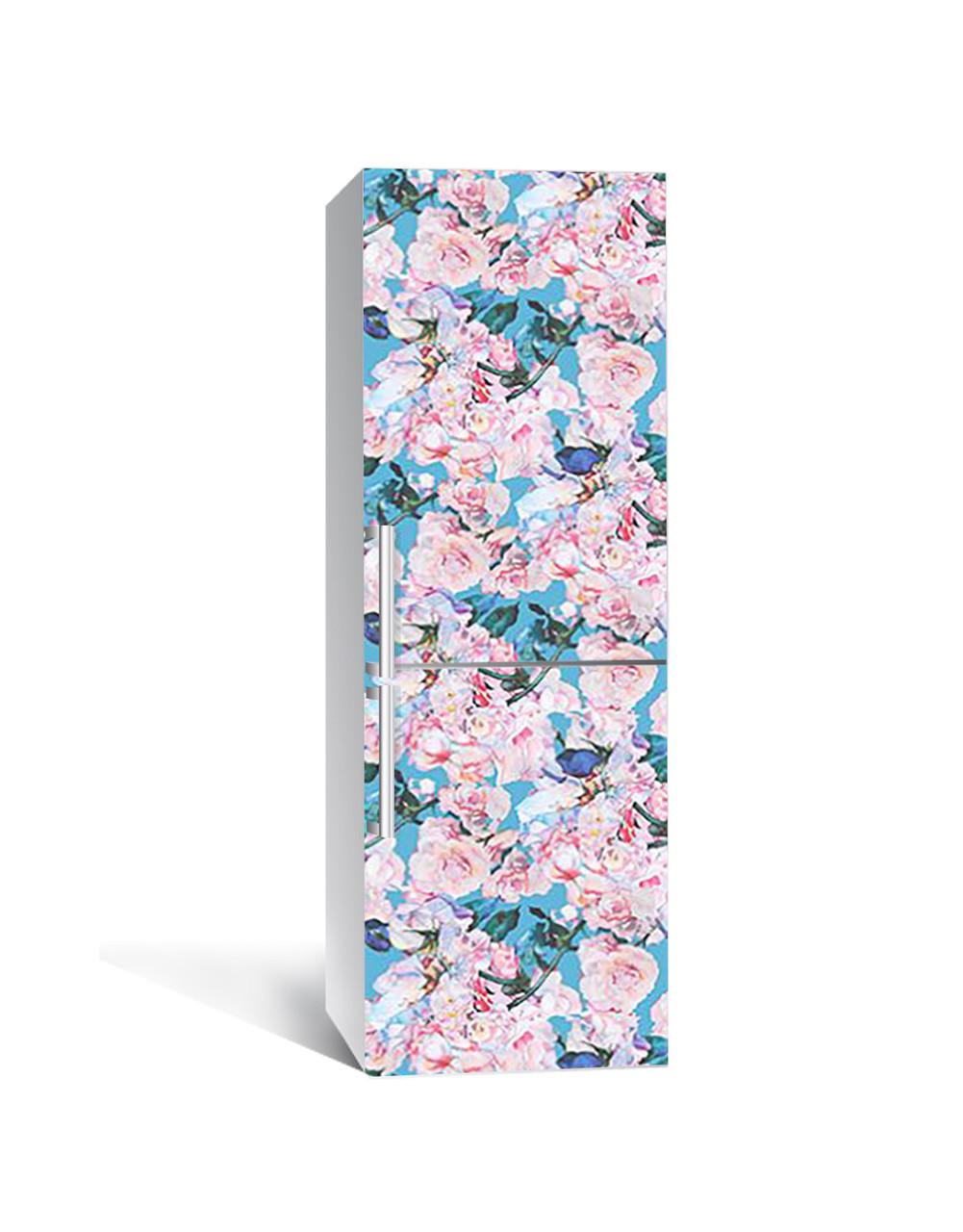 Наклейка на холодильник Бірюза і акварель троянди (плівка ПВХ з ламінуванням) 65*200см Абстракція Рожевий