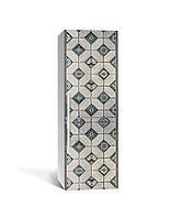 Виниловая наклейка на холодильник 3Д Арабеска Орнамент Ромб (пленка ПВХ фотопечать) 65*200см Геометрия Серый