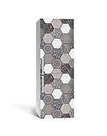 Декор 3Д наклейка на холодильник Стільники Орнамент під Камінь (плівка ПВХ фотодрук) 65*200см Геометрія Сірий