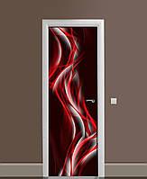 Декор двері Наклейка вінілова Червоні абстрактні лінії ПВХ плівка з ламінуванням 65*200см Абстракція Чорний