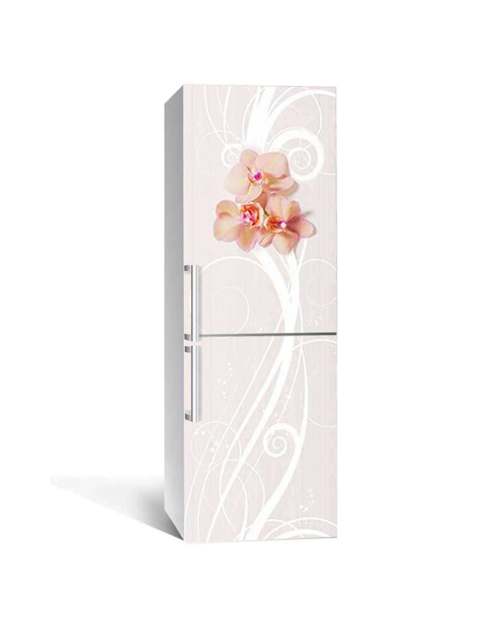 Наклейка на холодильник Орхідеї Бежевий візерунок (плівка ПВХ з ламінуванням) 65*200см Абстракція Сірий