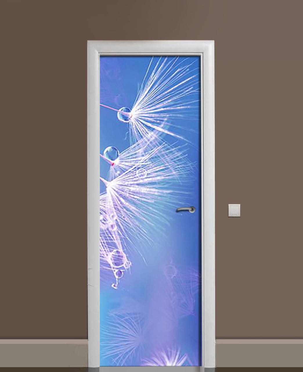 Вінілова наклейка на двері Пушинки кульбаби ПВХ плівка з ламінуванням 65*200см рослини Блакитний