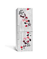 Декор 3Д наклейка на холодильник Ягоды на Бетоне (пленка ПВХ с ламинацией) 65*200см Текстуры Серый