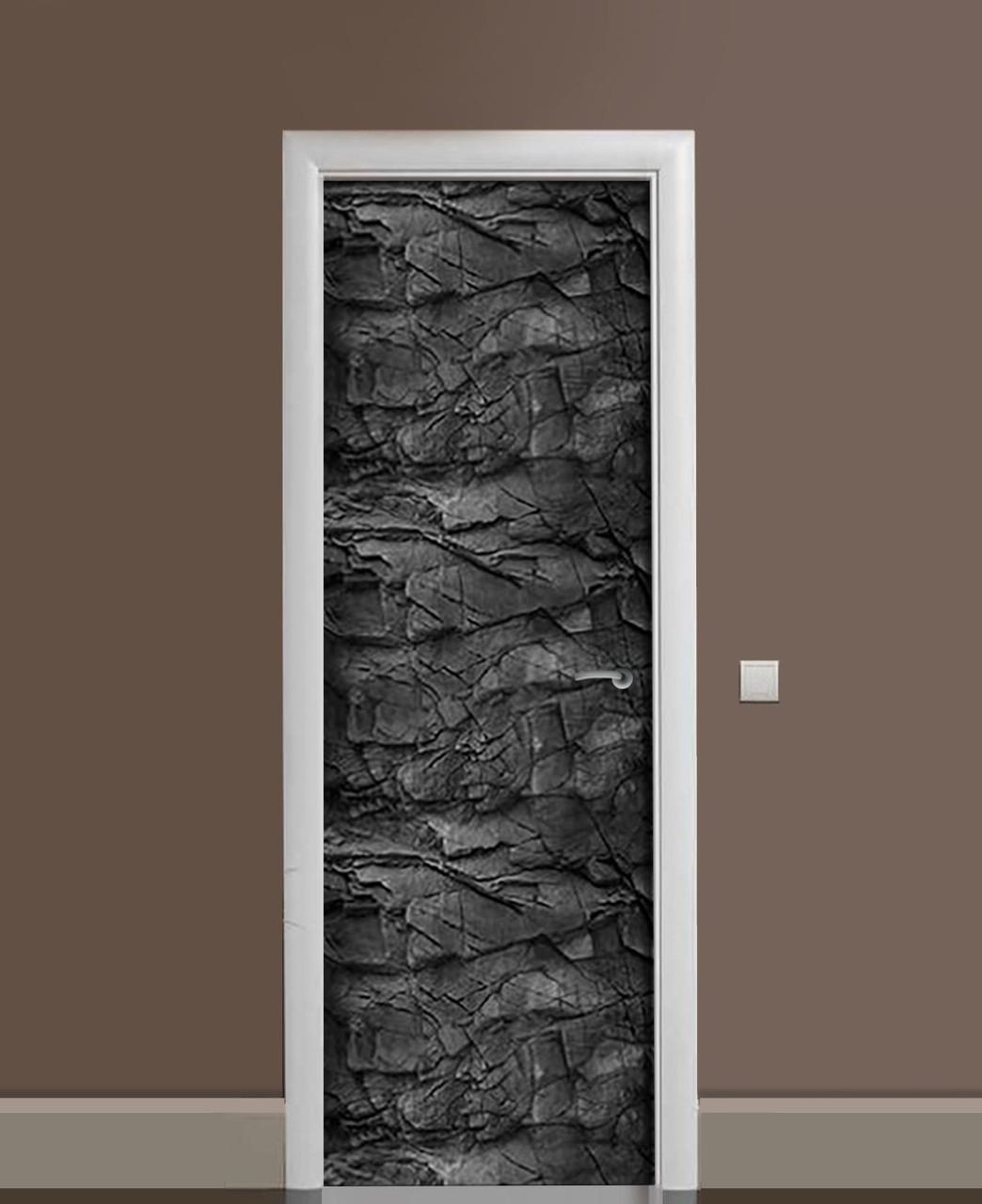 Вінілові наклейки на двері Деревне вугілля ПВХ плівка з ламінуванням 65*200см Текстура Чорний