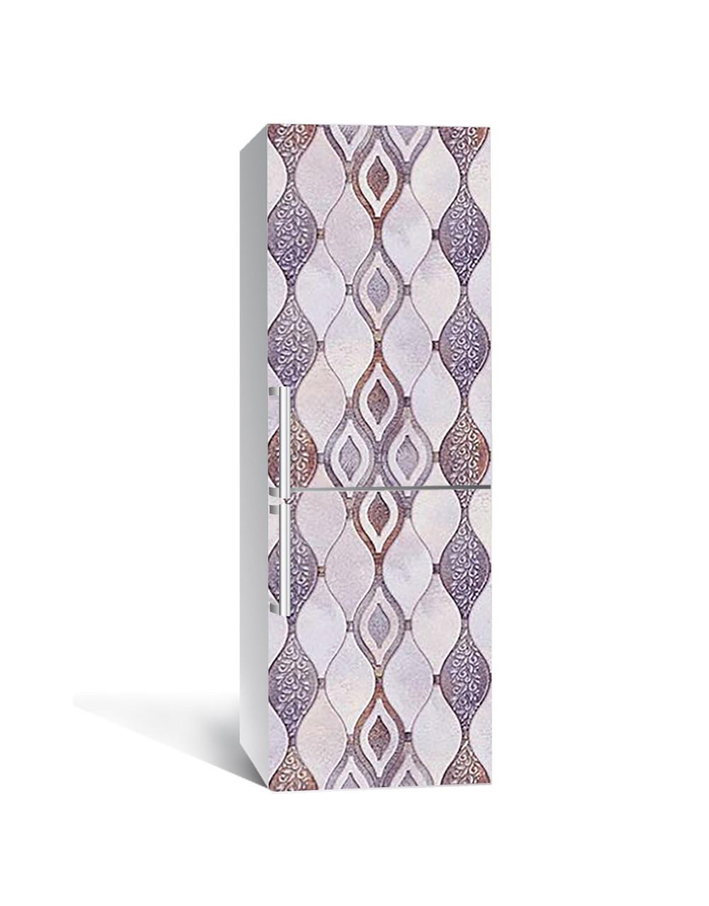 Вінілова 3Д наклейка на холодильник Ромби Орнамент (плівка ПВХ фотодрук) 65*200см Геометрія Сірий