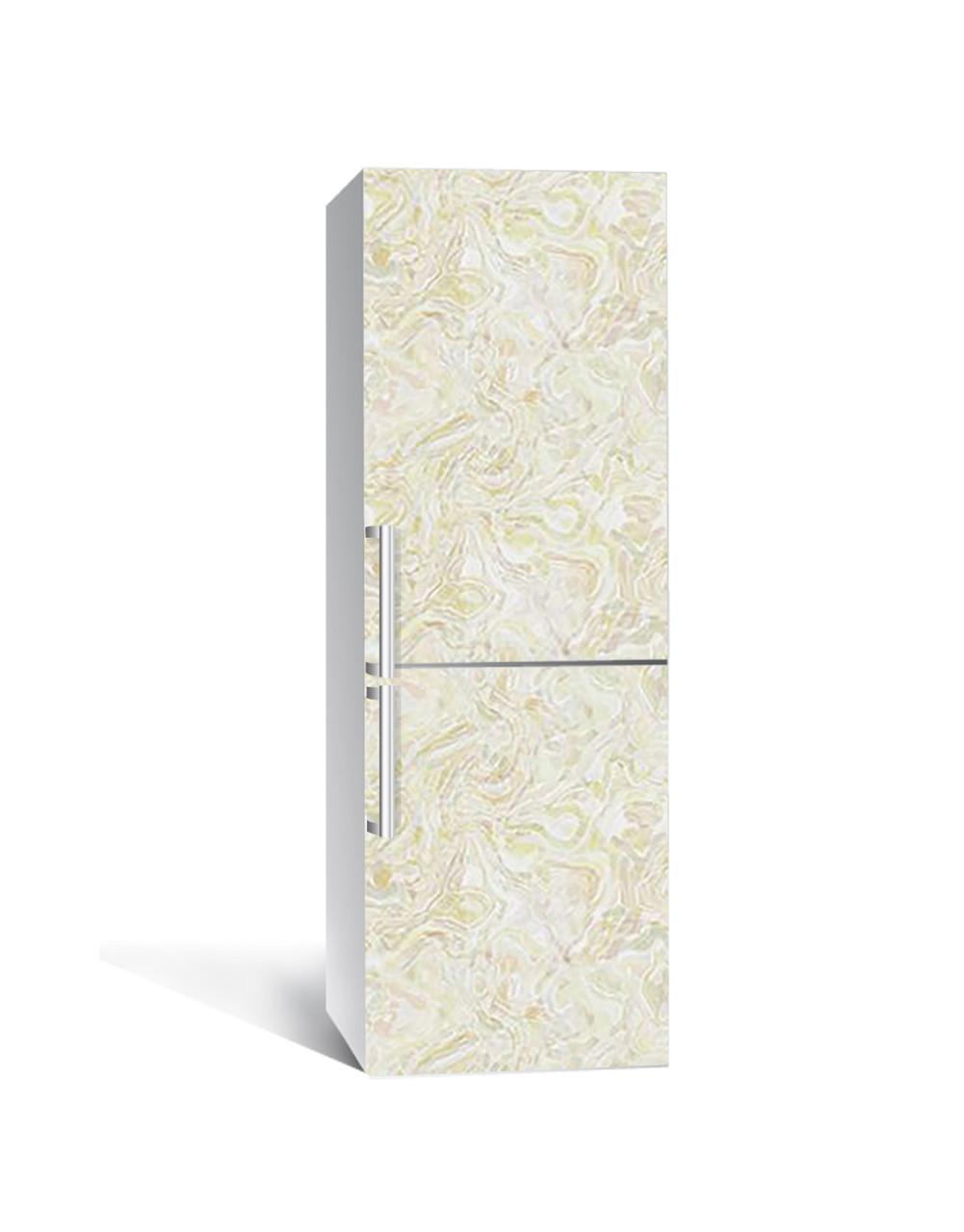 Декор 3Д наклейка на холодильник Бежевый Мрамор 03 (пленка ПВХ фотопечать) 65*200см Текстуры Бежевый