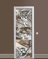 Вінілові наклейки на двері Преломление Час ПВХ плівка з ламінуванням 65*200см Абстракція Сірий