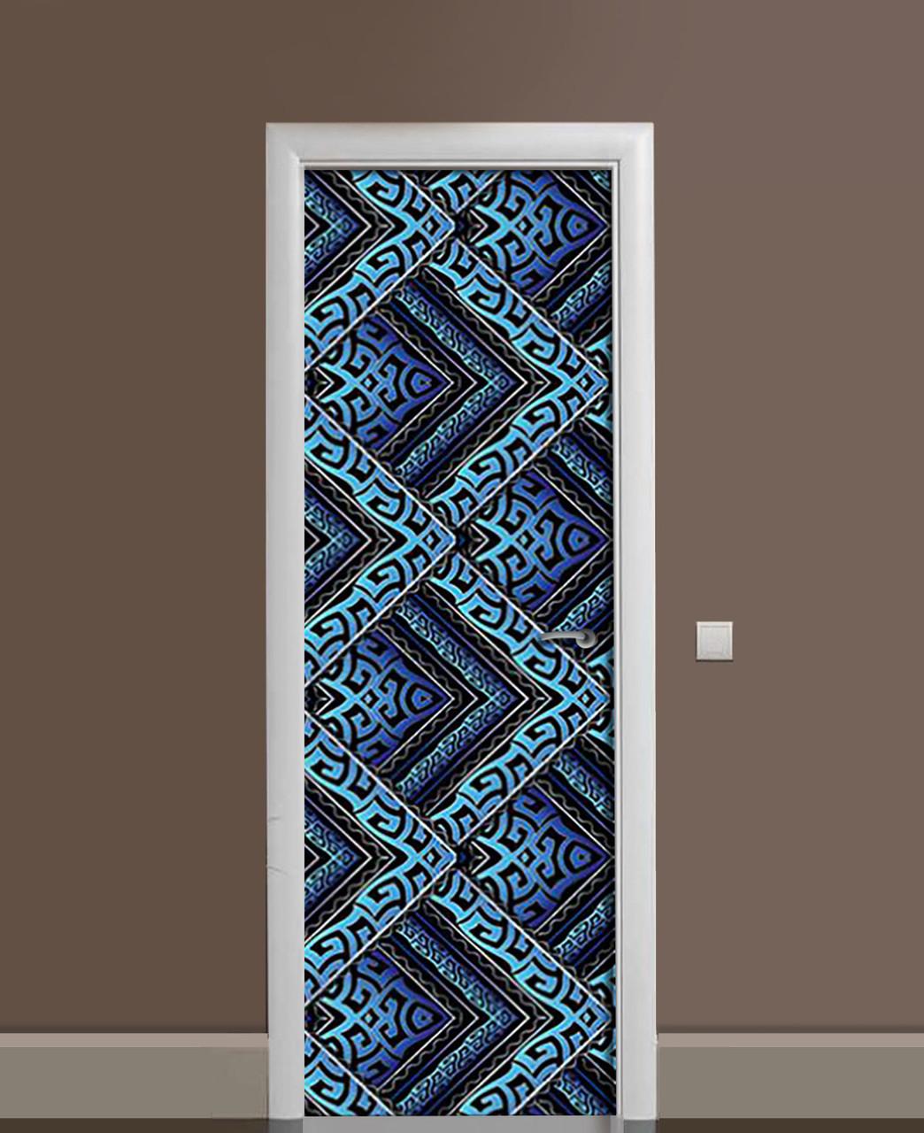 Виниловая наклейка на дверь Бирюзовый орнамент ПВХ пленка с ламинацией 65*200см Геометрия Синий