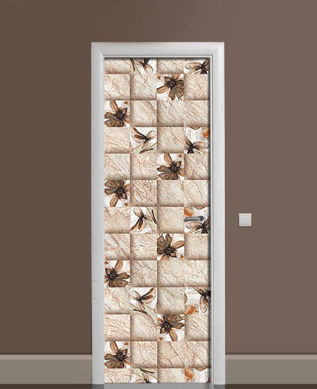Вінілові наклейки на двері вохристих плитка Квадрат ПВХ плівка з ламінуванням 65*200см Геометрія Бежевий