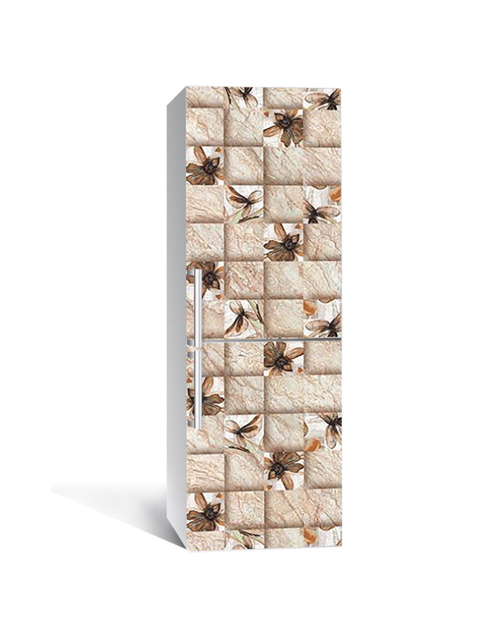 Вінілова 3Д наклейка на холодильник вохристих плитка Квадрат (плівка ПВХ фотодрук) 65*200см Геометрія Бежевий