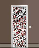Декор двері Наклейка вінілова Гілки на вітражах червоні Листя ПВХ плівка 65*200см Рослини Сірий