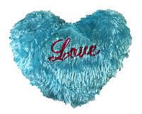 Подушка сердце травка голубая