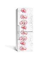 Вінілова 3Д наклейка на холодильник Червоний акцент квіти (плівка ПВХ фотодрук) 65*200см текстура Сірий