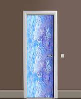 Декор двері Наклейка вінілова Мазки олійної фарби ПВХ плівка з ламінуванням 65*200см Текстура Блакитний