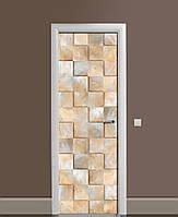 Вінілова наклейка на двері Мармурові квадрати ПВХ плівка з ламінуванням 65*200см Геометрія Бежевий