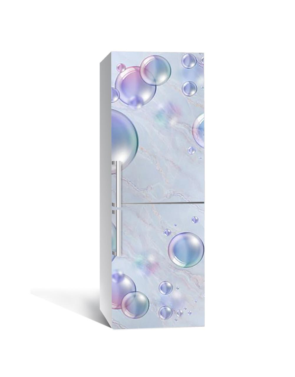 Декор 3Д наклейка на холодильник Мильні бульбашки Сфери (плівка ПВХ фотодрук) 65*200см Абстракція Блакитний